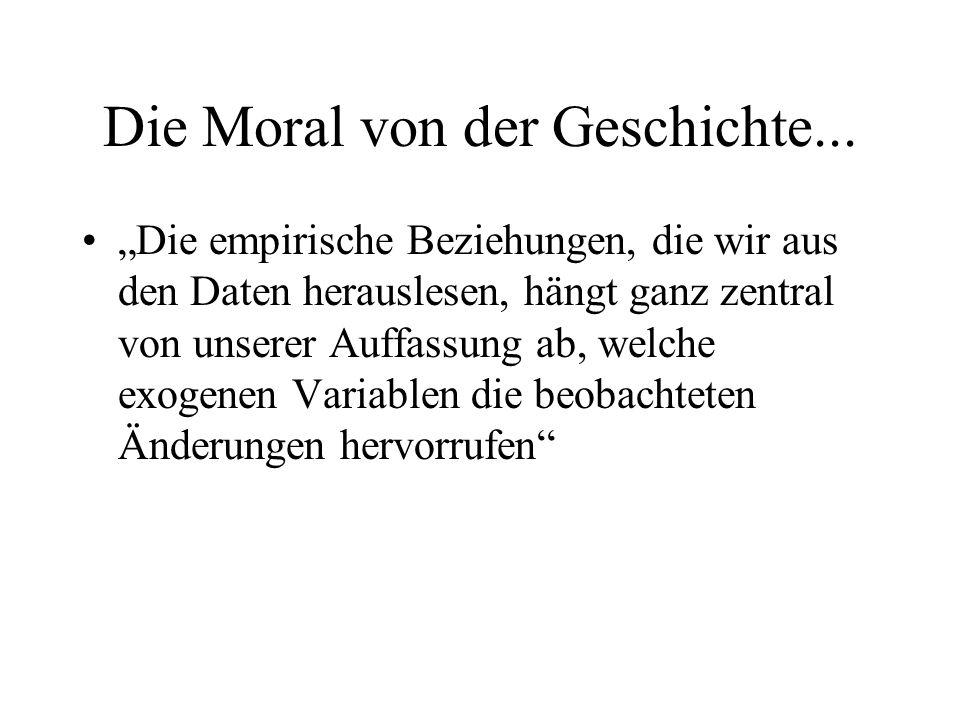 Die Moral von der Geschichte... Die empirische Beziehungen, die wir aus den Daten herauslesen, hängt ganz zentral von unserer Auffassung ab, welche ex