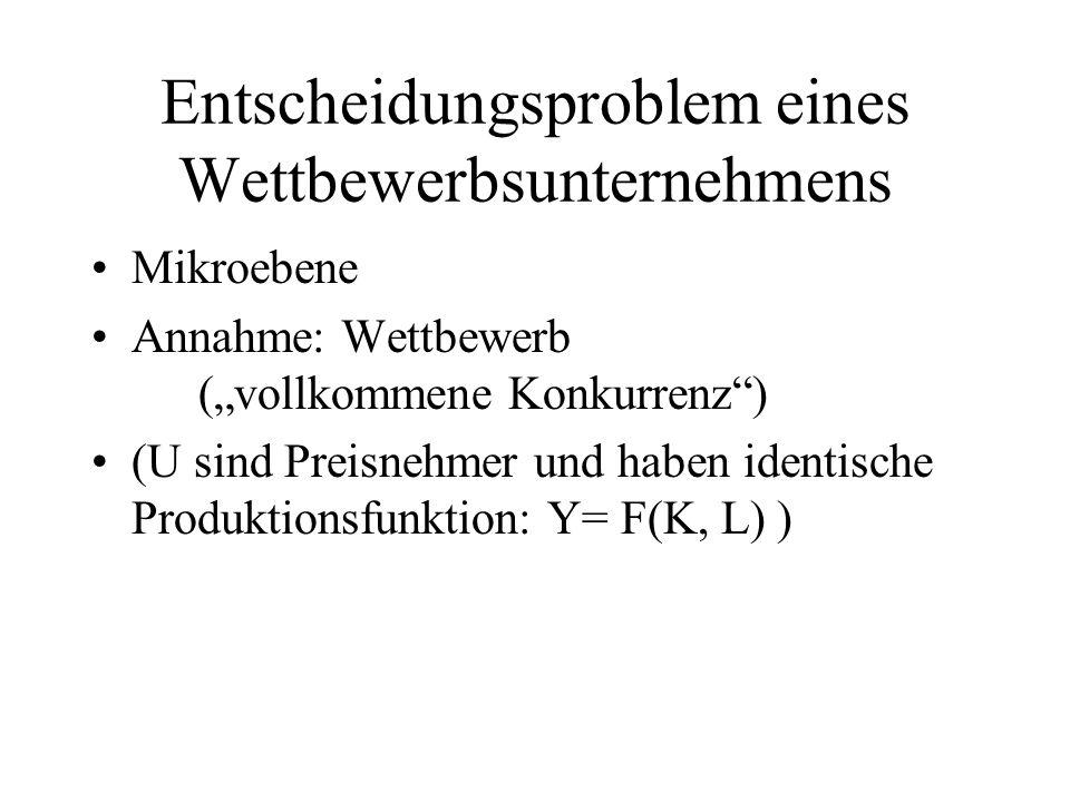 Entscheidungsproblem eines Wettbewerbsunternehmens Mikroebene Annahme: Wettbewerb (vollkommene Konkurrenz) (U sind Preisnehmer und haben identische Pr
