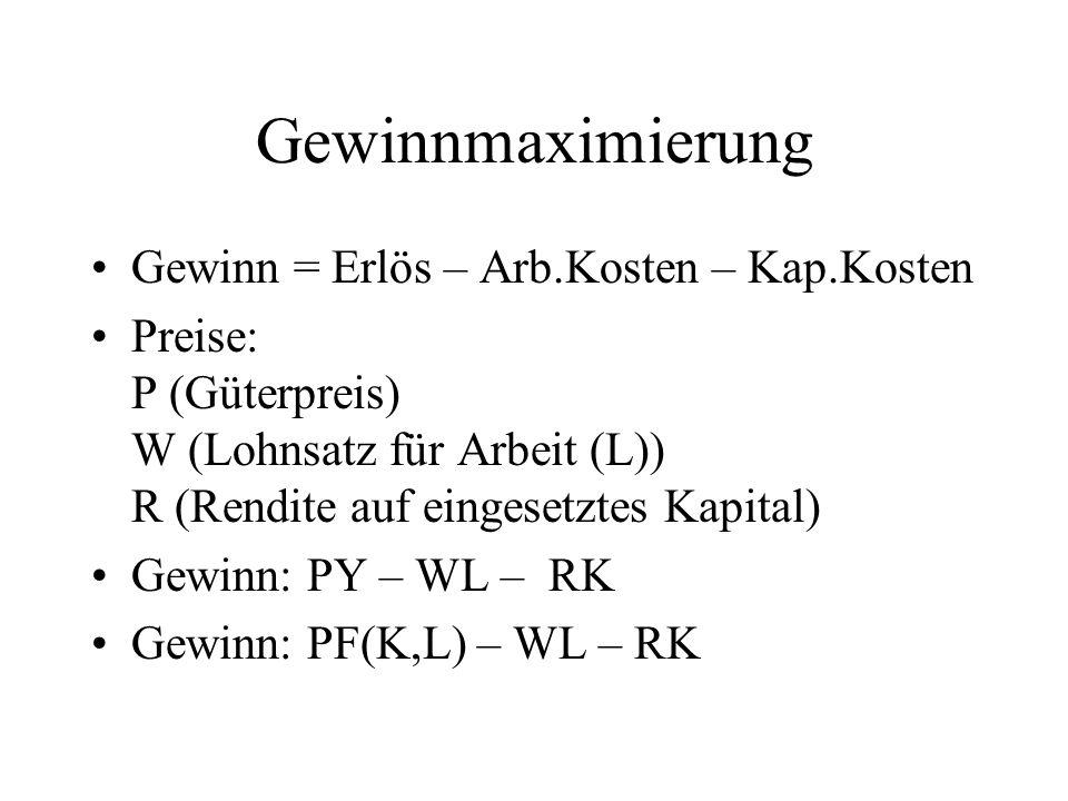 Gewinnmaximierung Gewinn = Erlös – Arb.Kosten – Kap.Kosten Preise: P (Güterpreis) W (Lohnsatz für Arbeit (L)) R (Rendite auf eingesetztes Kapital) Gew