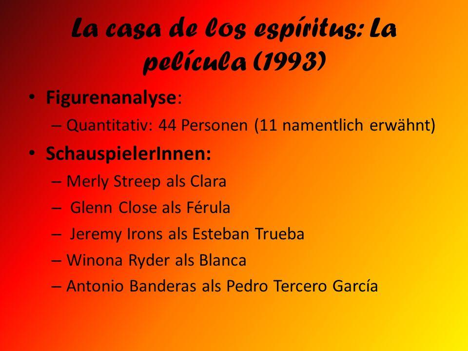La casa de los espíritus: La película (1993) Figurenanalyse: – Quantitativ: 44 Personen (11 namentlich erwähnt) SchauspielerInnen: – Merly Streep als