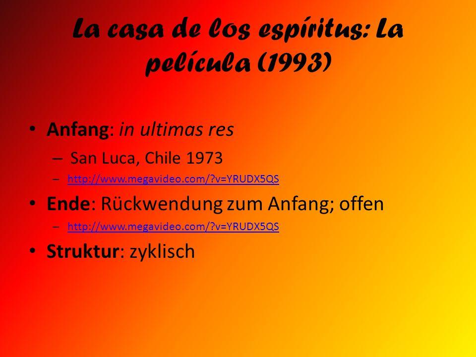 La casa de los espíritus: La película (1993) Anfang: in ultimas res – San Luca, Chile 1973 – http://www.megavideo.com/?v=YRUDX5QS http://www.megavideo