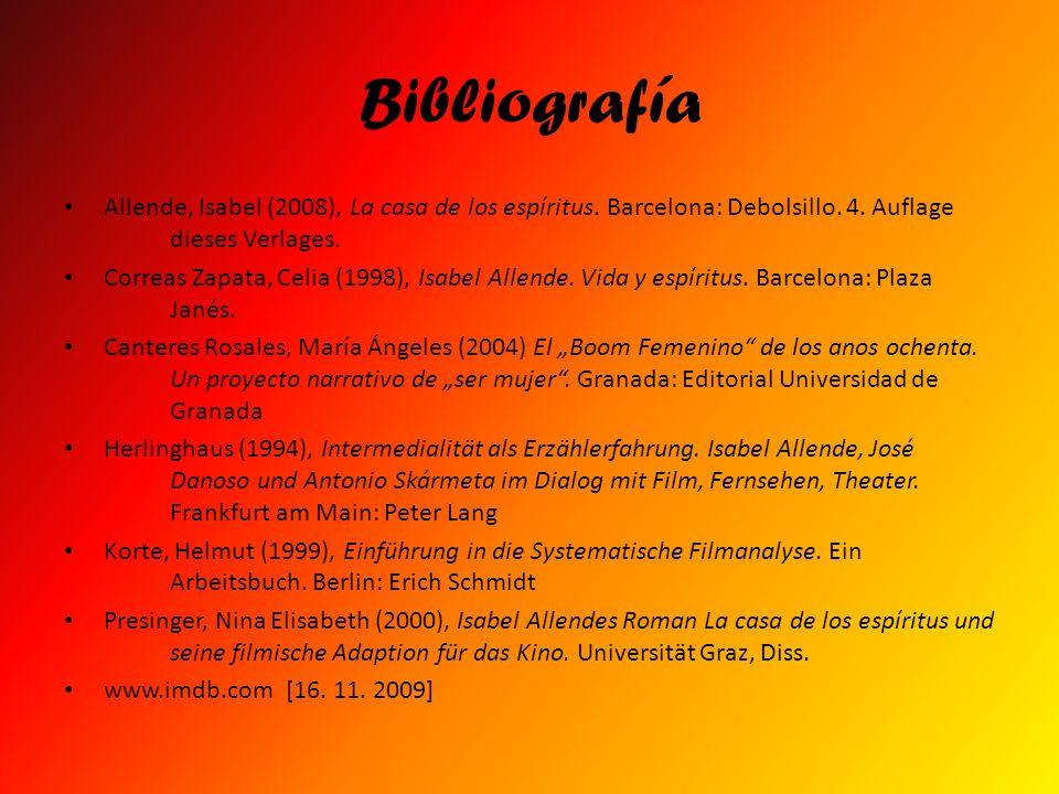 Bibliografía Allende, Isabel (2008), La casa de los espíritus. Barcelona: Debolsillo. 4. Auflage dieses Verlages. Correas Zapata, Celia (1998), Isabel