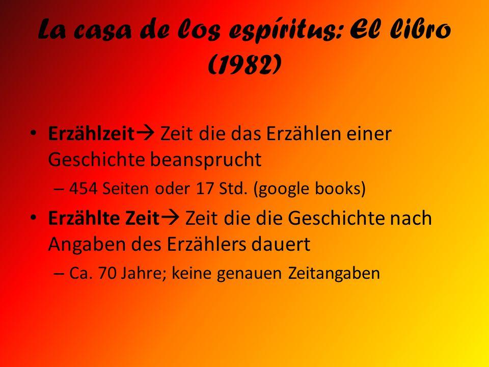 La casa de los espíritus: El libro (1982) Erzählzeit Zeit die das Erzählen einer Geschichte beansprucht – 454 Seiten oder 17 Std. (google books) Erzäh