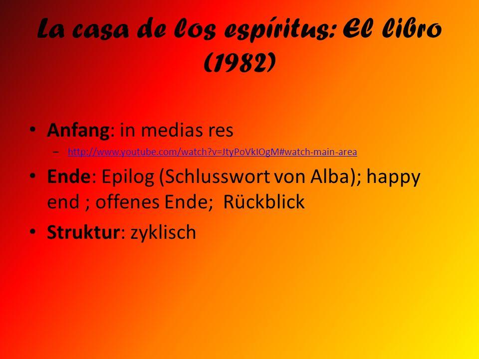 La casa de los espíritus: El libro (1982) Anfang: in medias res – http://www.youtube.com/watch?v=JtyPoVkIOgM#watch-main-area http://www.youtube.com/wa