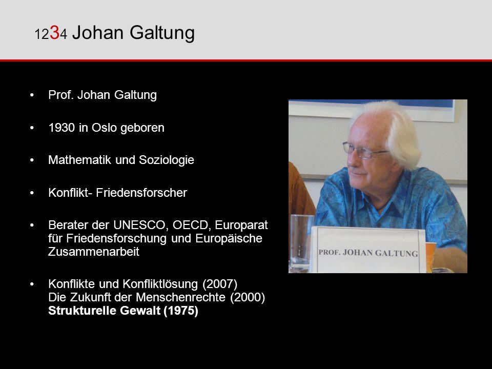 Prof. Johan Galtung 1930 in Oslo geboren Mathematik und Soziologie Konflikt- Friedensforscher Berater der UNESCO, OECD, Europarat für Friedensforschun