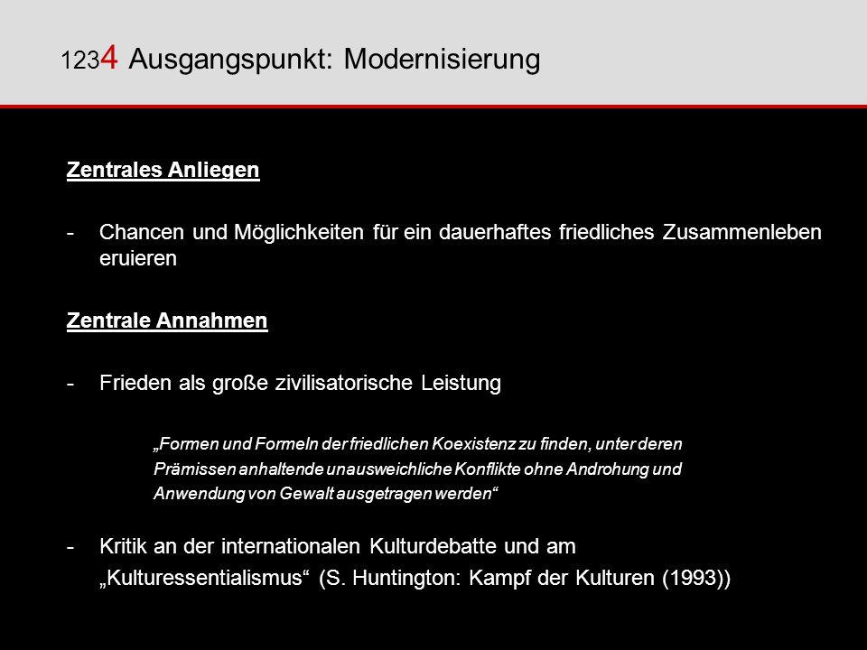 123 4 Ausgangspunkt: Modernisierung Zentrales Anliegen -Chancen und Möglichkeiten für ein dauerhaftes friedliches Zusammenleben eruieren Zentrale Anna