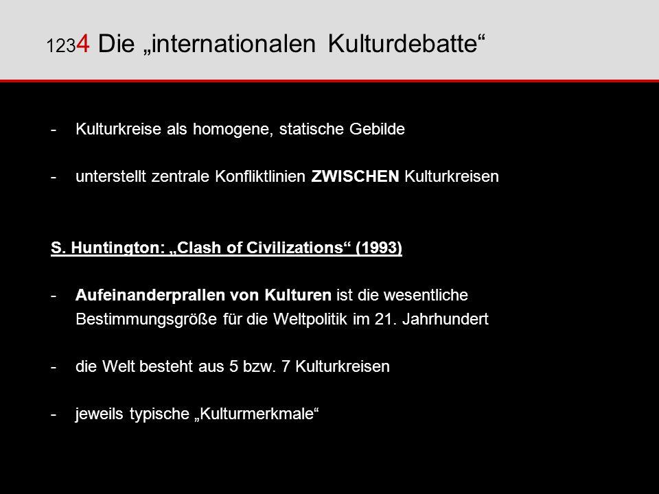-Kulturkreise als homogene, statische Gebilde - unterstellt zentrale Konfliktlinien ZWISCHEN Kulturkreisen S. Huntington: Clash of Civilizations (1993