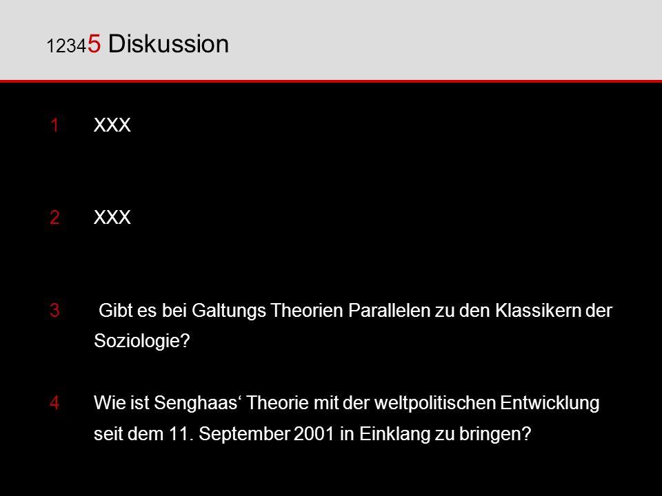 1XXX 2XXX 3 Gibt es bei Galtungs Theorien Parallelen zu den Klassikern der Soziologie? 4 Wie ist Senghaas Theorie mit der weltpolitischen Entwicklung
