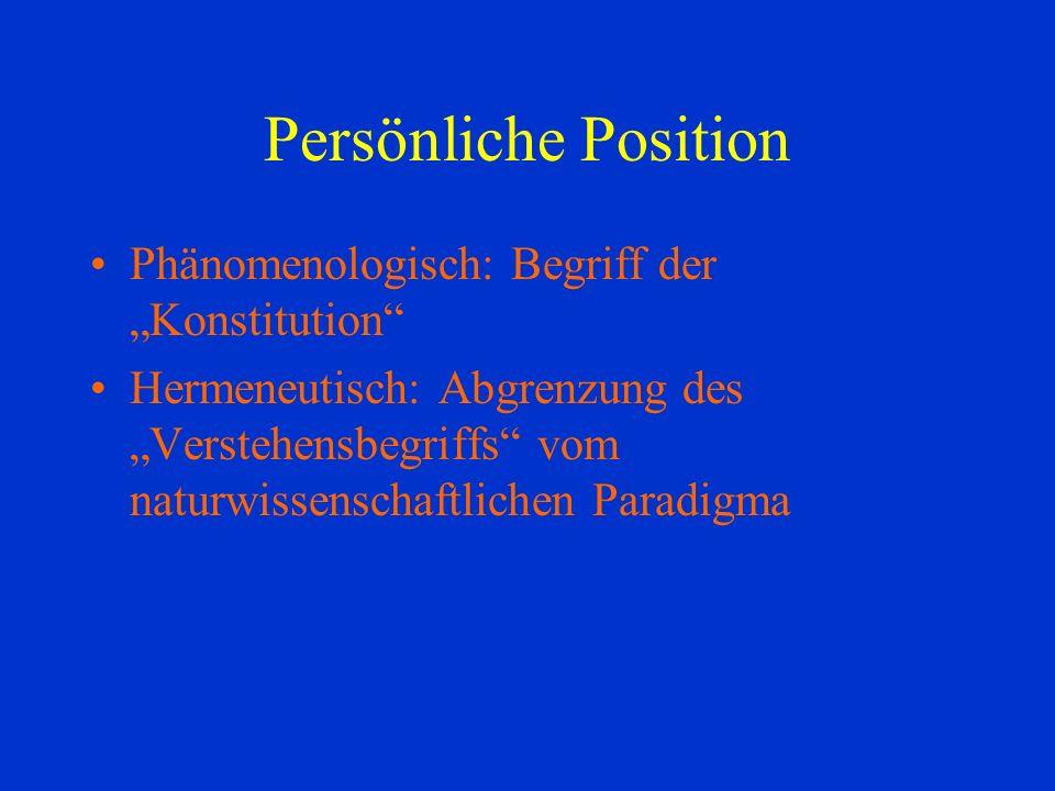 Persönliche Position Phänomenologisch: Begriff der Konstitution Hermeneutisch: Abgrenzung des Verstehensbegriffs vom naturwissenschaftlichen Paradigma