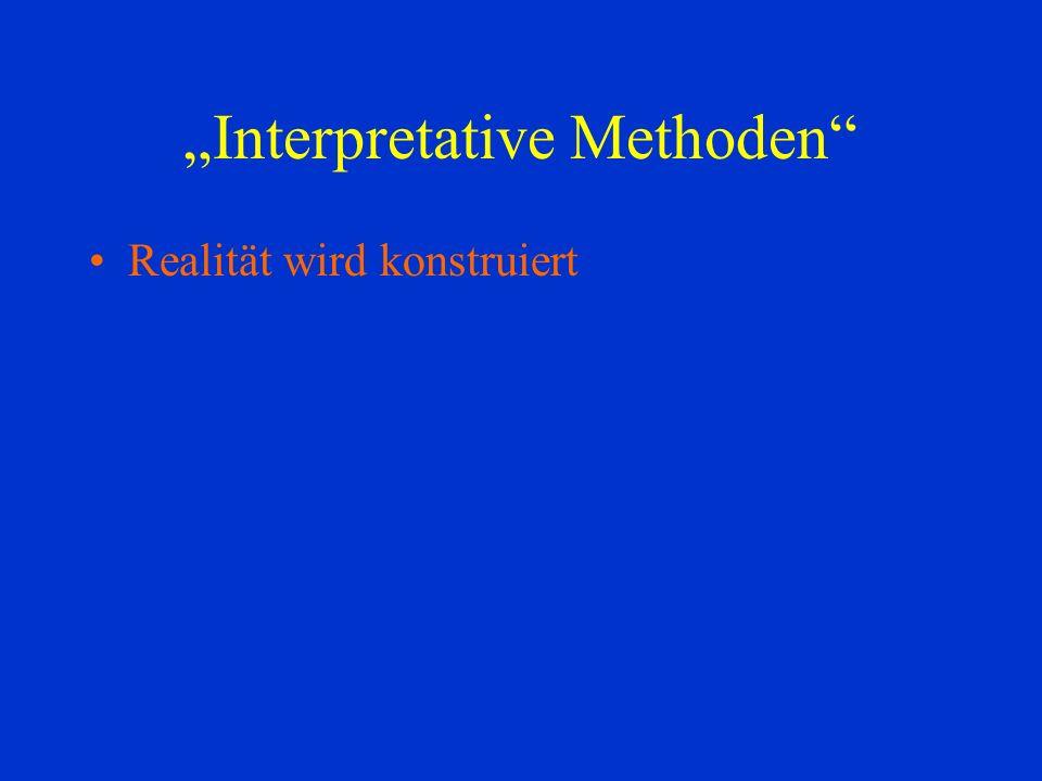 Interpretative Methoden Realität wird konstruiert