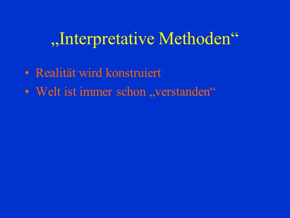 Interpretative Methoden Realität wird konstruiert Welt ist immer schon verstanden