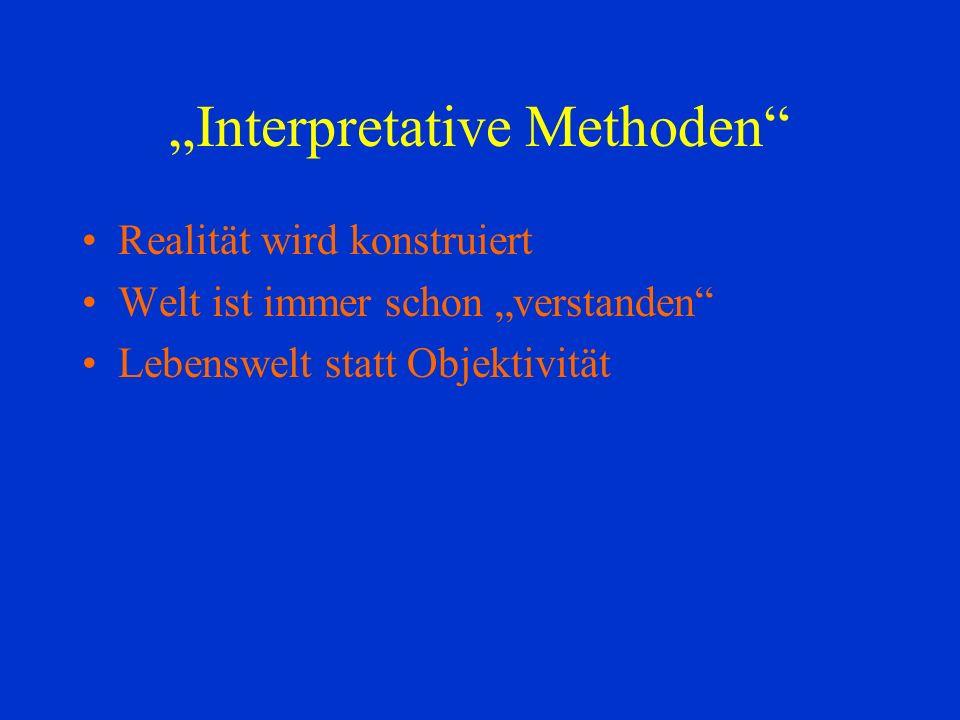 Interpretative Methoden Realität wird konstruiert Welt ist immer schon verstanden Lebenswelt statt Objektivität