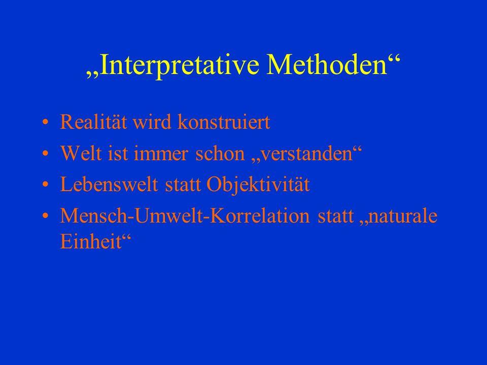 Interpretative Methoden Realität wird konstruiert Welt ist immer schon verstanden Lebenswelt statt Objektivität Mensch-Umwelt-Korrelation statt naturale Einheit