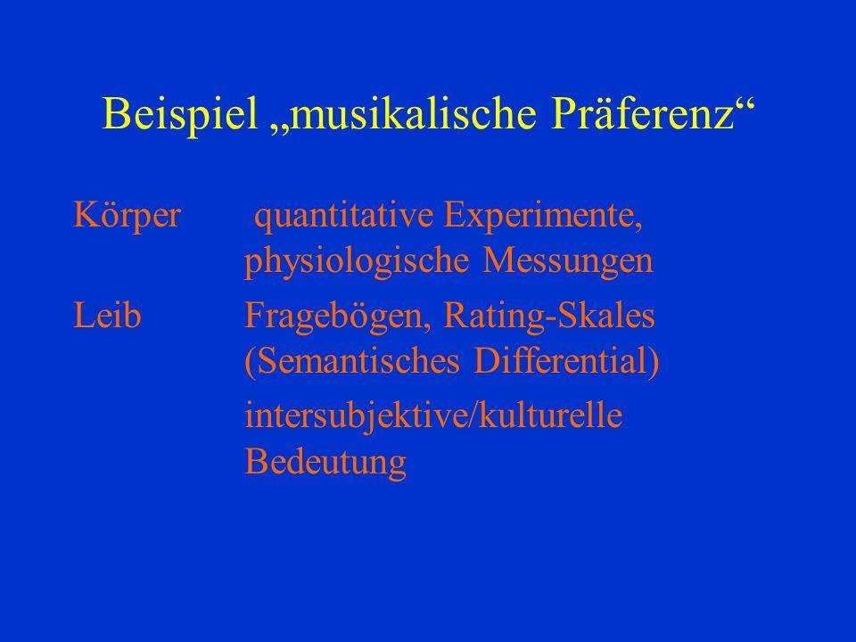Beispiel musikalische Präferenz Körper quantitative Experimente, physiologische Messungen LeibFragebögen, Rating-Skales (Semantisches Differential) intersubjektive/kulturelle Bedeutung
