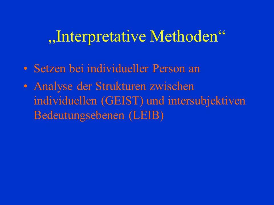 Interpretative Methoden Setzen bei individueller Person an Analyse der Strukturen zwischen individuellen (GEIST) und intersubjektiven Bedeutungsebenen (LEIB)