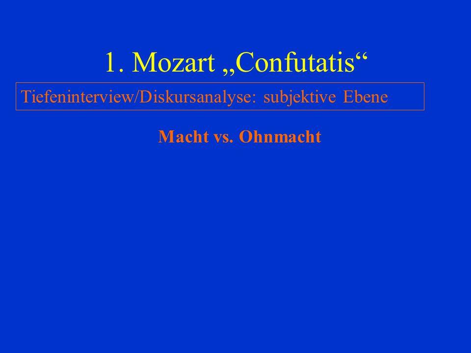 1. Mozart Confutatis Tiefeninterview/Diskursanalyse: subjektive Ebene Macht vs. Ohnmacht