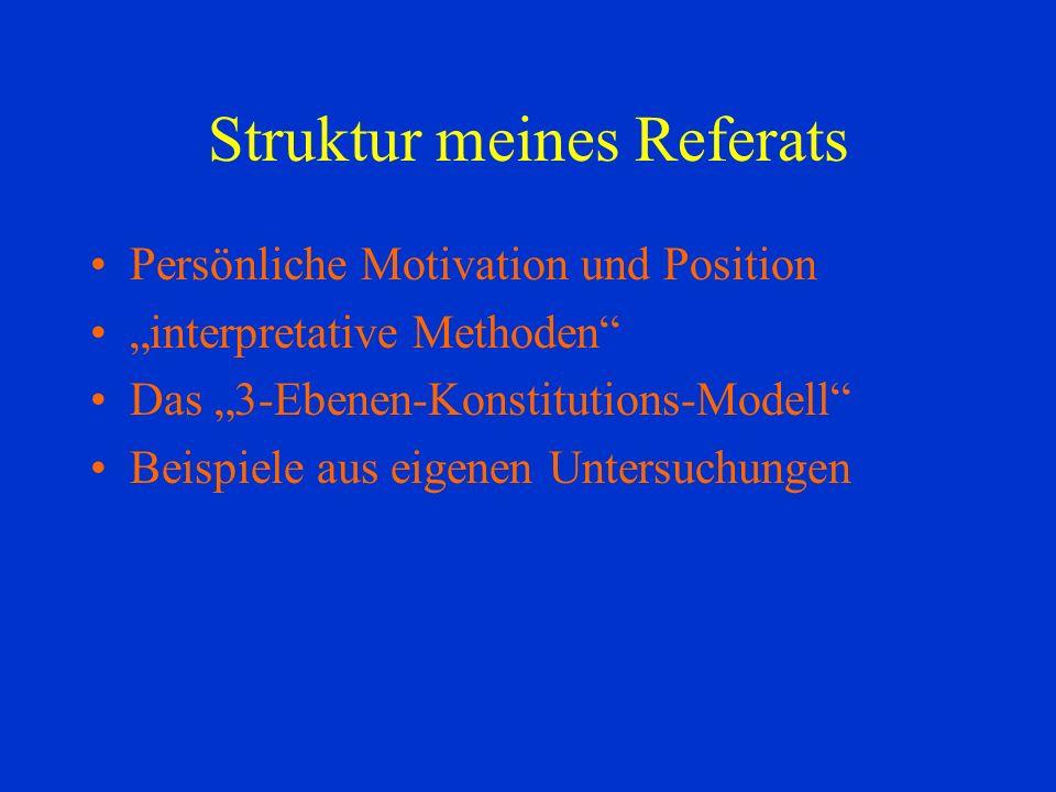 Struktur meines Referats Persönliche Motivation und Position interpretative Methoden Das 3-Ebenen-Konstitutions-Modell Beispiele aus eigenen Untersuchungen