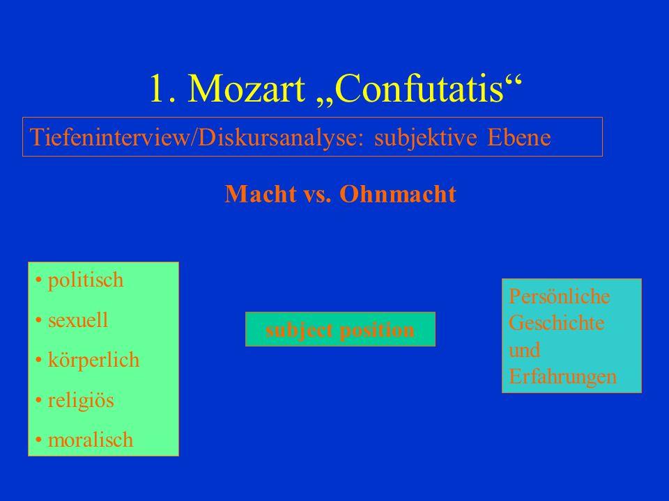 1.Mozart Confutatis Tiefeninterview/Diskursanalyse: subjektive Ebene Macht vs.