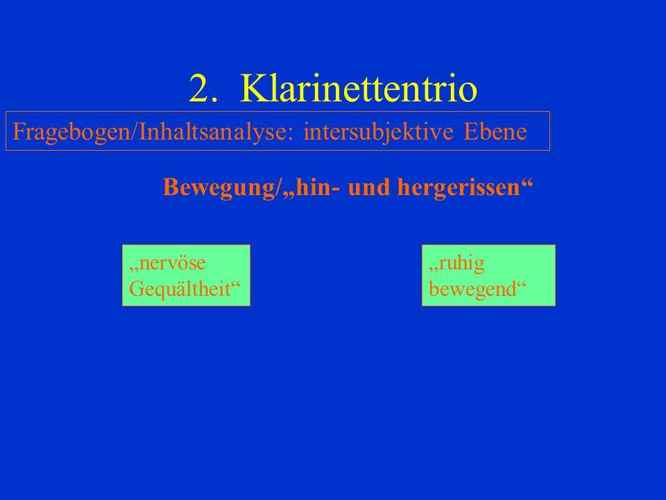 2. Klarinettentrio Fragebogen/Inhaltsanalyse: intersubjektive Ebene Bewegung/hin- und hergerissen nervöse Gequältheit ruhig bewegend
