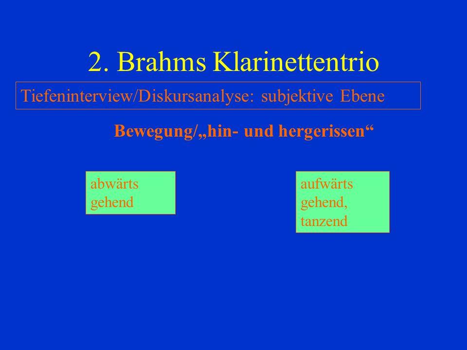 2. Brahms Klarinettentrio Tiefeninterview/Diskursanalyse: subjektive Ebene Bewegung/hin- und hergerissen abwärts gehend aufwärts gehend, tanzend