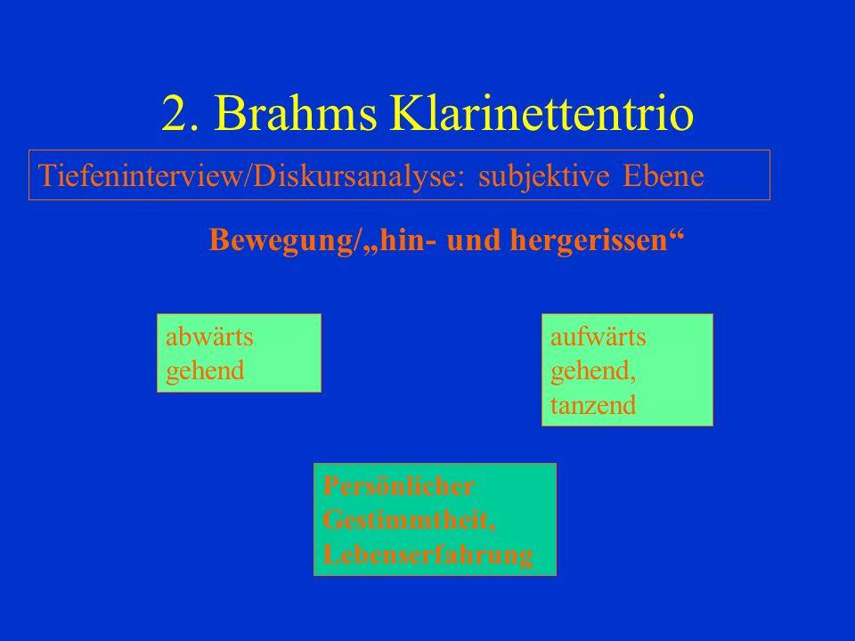 2. Brahms Klarinettentrio Tiefeninterview/Diskursanalyse: subjektive Ebene Bewegung/hin- und hergerissen abwärts gehend aufwärts gehend, tanzend Persö