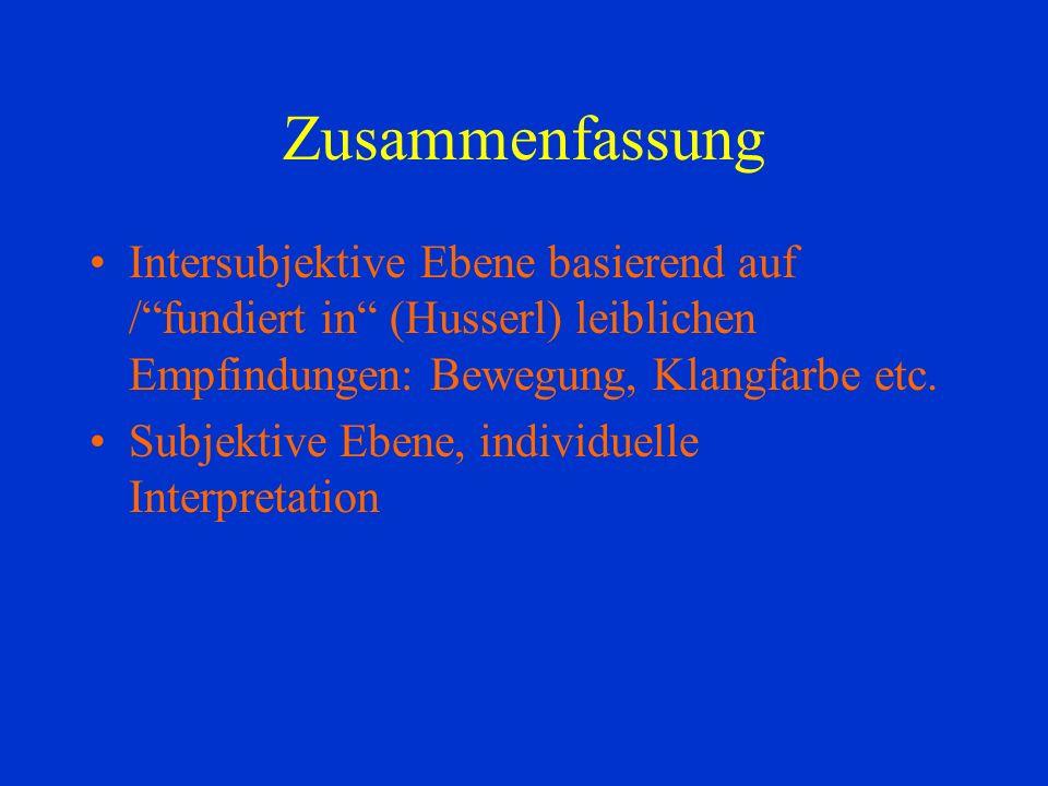 Zusammenfassung Intersubjektive Ebene basierend auf /fundiert in (Husserl) leiblichen Empfindungen: Bewegung, Klangfarbe etc.