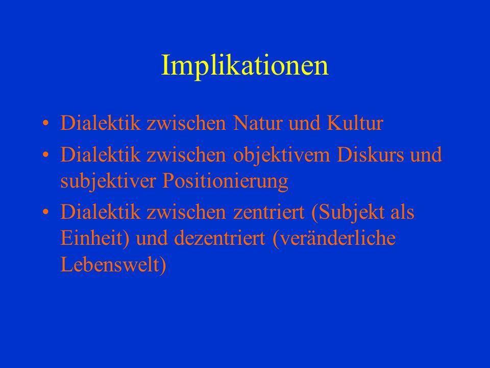 Implikationen Dialektik zwischen Natur und Kultur Dialektik zwischen objektivem Diskurs und subjektiver Positionierung Dialektik zwischen zentriert (Subjekt als Einheit) und dezentriert (veränderliche Lebenswelt)