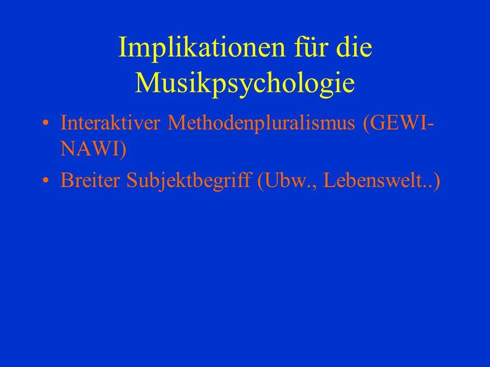 Implikationen für die Musikpsychologie Interaktiver Methodenpluralismus (GEWI- NAWI) Breiter Subjektbegriff (Ubw., Lebenswelt..)