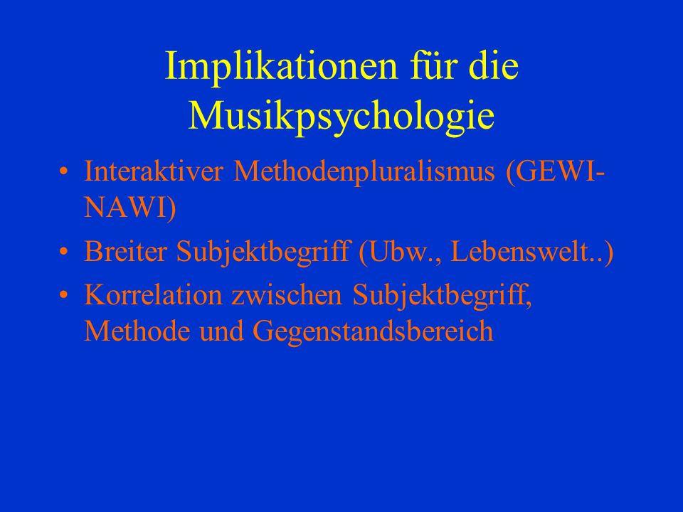 Implikationen für die Musikpsychologie Interaktiver Methodenpluralismus (GEWI- NAWI) Breiter Subjektbegriff (Ubw., Lebenswelt..) Korrelation zwischen Subjektbegriff, Methode und Gegenstandsbereich