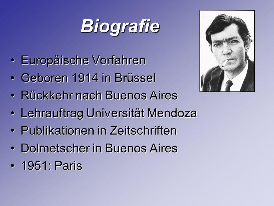 Biografie Biografie Europäische VorfahrenEuropäische Vorfahren Geboren 1914 in BrüsselGeboren 1914 in Brüssel Rückkehr nach Buenos AiresRückkehr nach