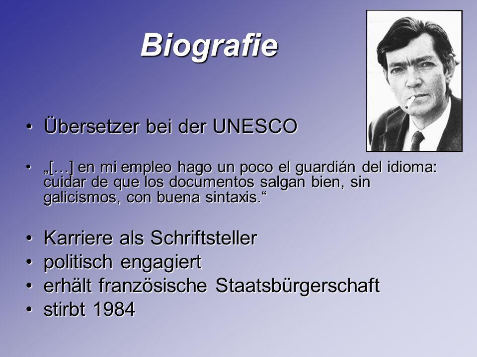 Biografie Biografie Übersetzer bei der UNESCOÜbersetzer bei der UNESCO […] en mi empleo hago un poco el guardián del idioma: cuidar de que los documen