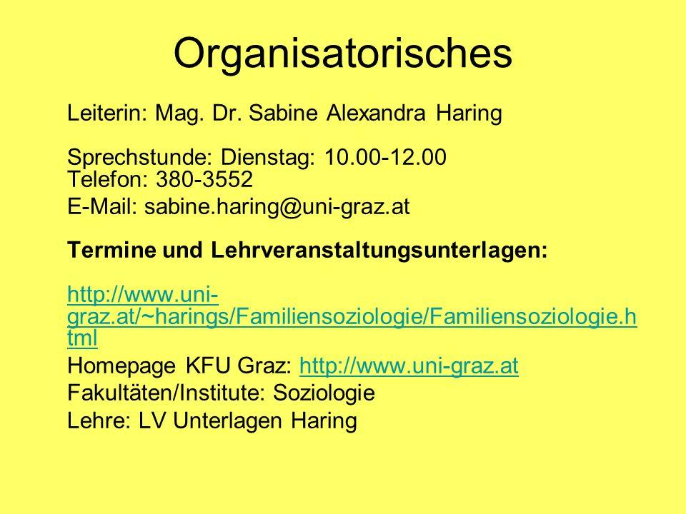 Organisatorisches Leiterin: Mag. Dr. Sabine Alexandra Haring Sprechstunde: Dienstag: 10.00-12.00 Telefon: 380-3552 E-Mail: sabine.haring@uni-graz.at T