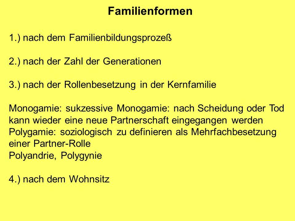 Familienformen 1.) nach dem Familienbildungsprozeß 2.) nach der Zahl der Generationen 3.) nach der Rollenbesetzung in der Kernfamilie Monogamie: sukze