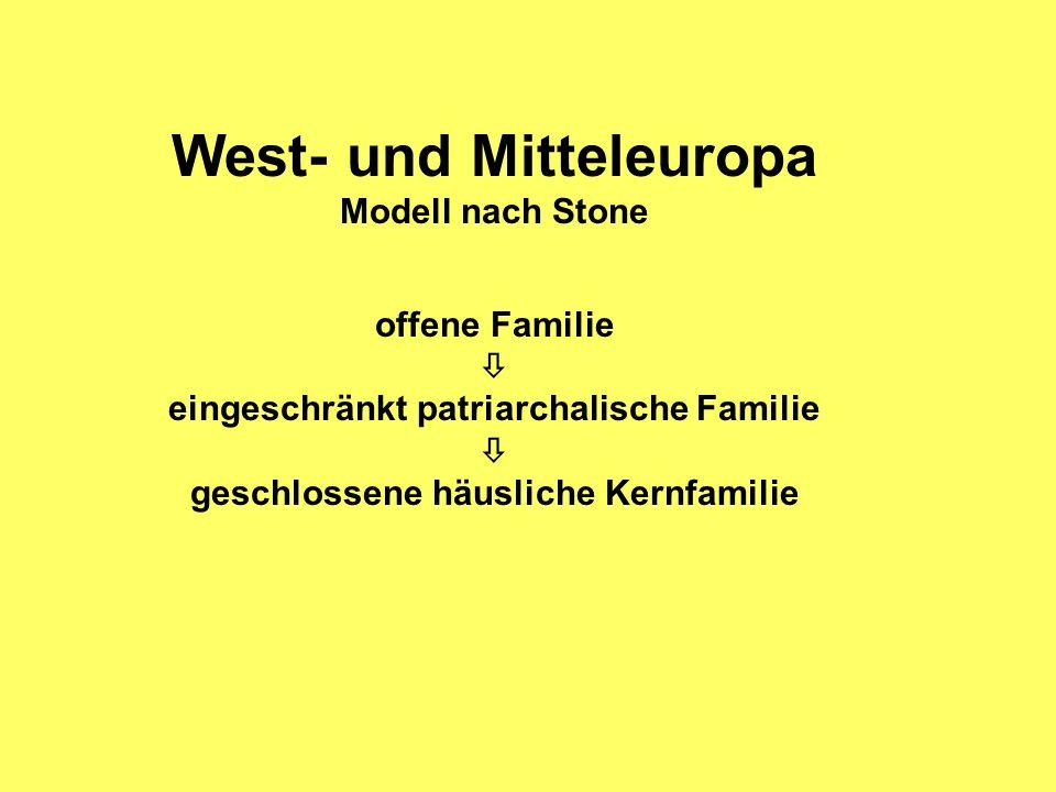 West- und Mitteleuropa Modell nach Stone offene Familie eingeschränkt patriarchalische Familie geschlossene häusliche Kernfamilie
