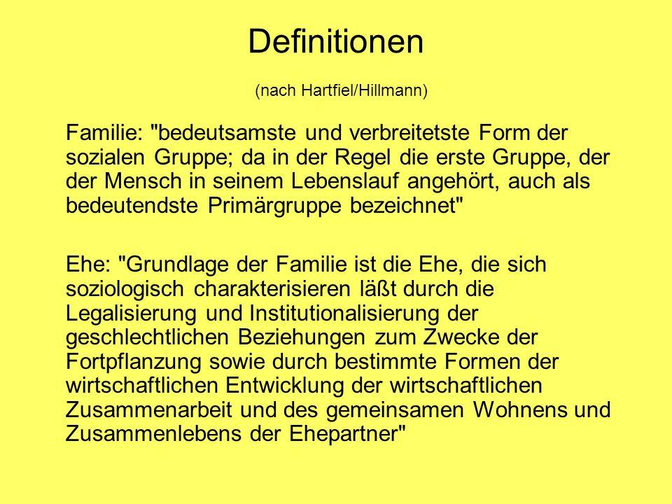 Definitionen (nach Hartfiel/Hillmann) Familie: