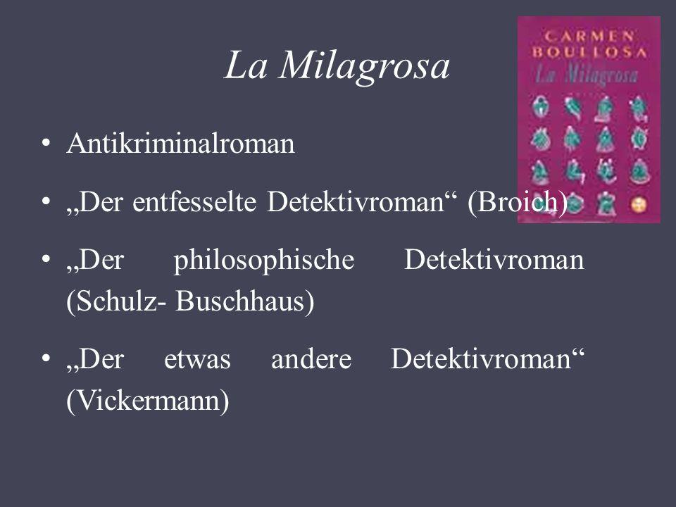 La Milagrosa Antikriminalroman Der entfesselte Detektivroman (Broich) Der philosophische Detektivroman (Schulz- Buschhaus) Der etwas andere Detektivroman (Vickermann)
