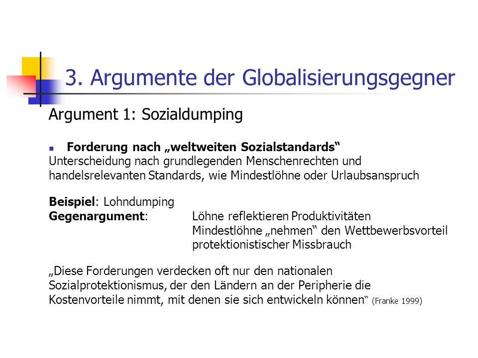 3. Argumente der Globalisierungsgegner Argument 1: Sozialdumping Forderung nach weltweiten Sozialstandards Unterscheidung nach grundlegenden Menschenr