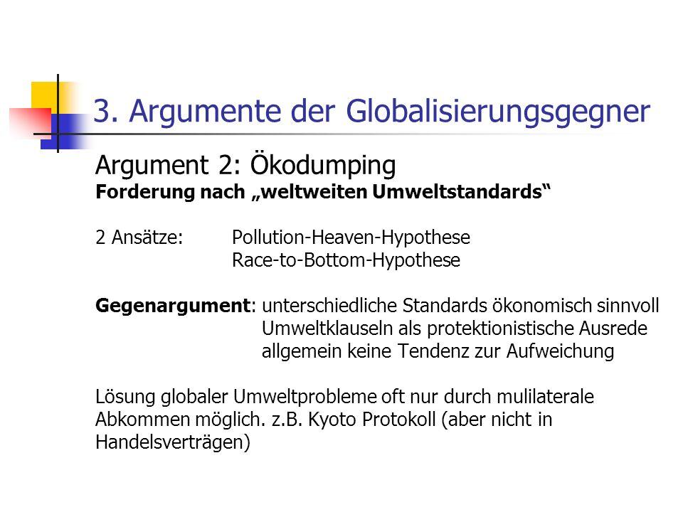 3. Argumente der Globalisierungsgegner Argument 2: Ökodumping Forderung nach weltweiten Umweltstandards 2 Ansätze: Pollution-Heaven-Hypothese Race-to-