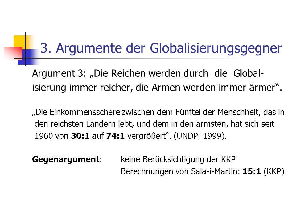 3. Argumente der Globalisierungsgegner Argument 3: Die Reichen werden durch die Global- isierung immer reicher, die Armen werden immer ärmer. Die Eink