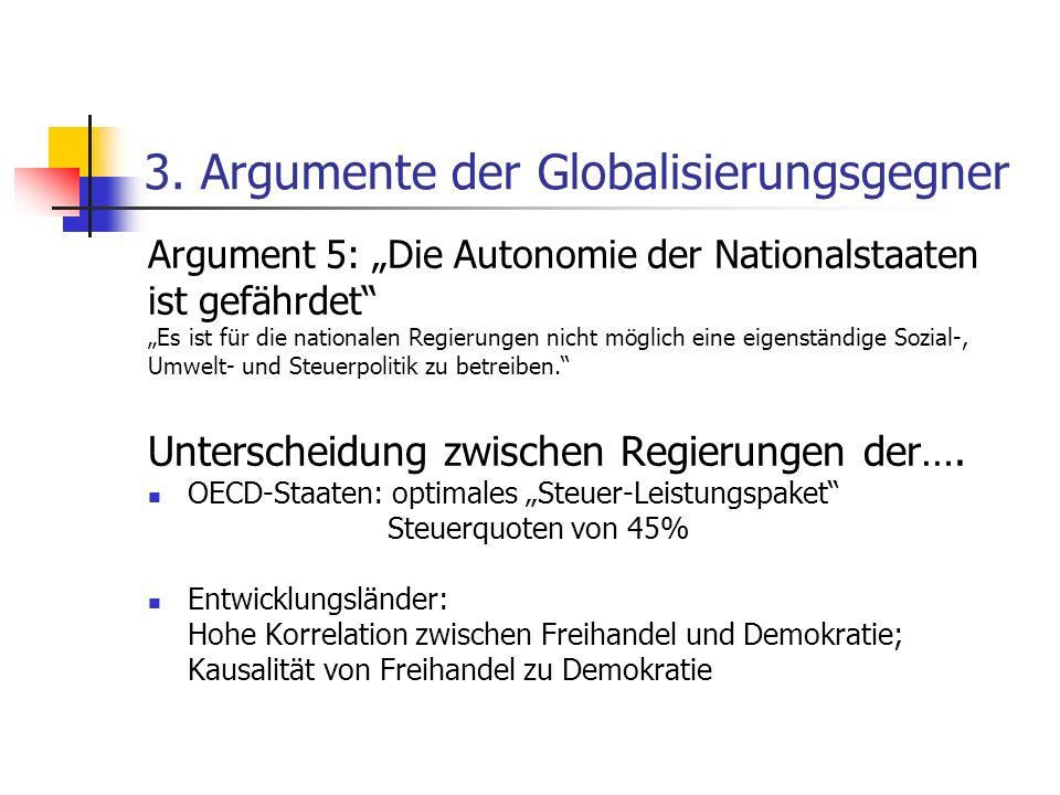 3. Argumente der Globalisierungsgegner Argument 5: Die Autonomie der Nationalstaaten ist gefährdet Es ist für die nationalen Regierungen nicht möglich