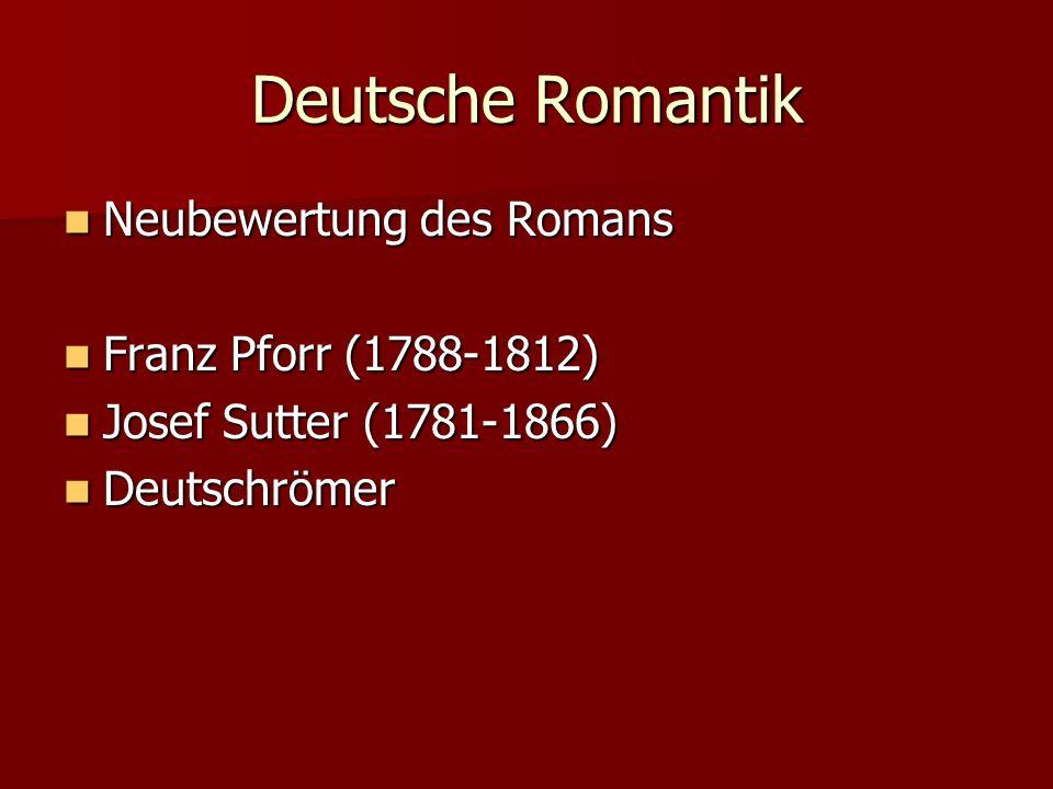 Deutsche Romantik Neubewertung des Romans Neubewertung des Romans Franz Pforr (1788-1812) Franz Pforr (1788-1812) Josef Sutter (1781-1866) Josef Sutte