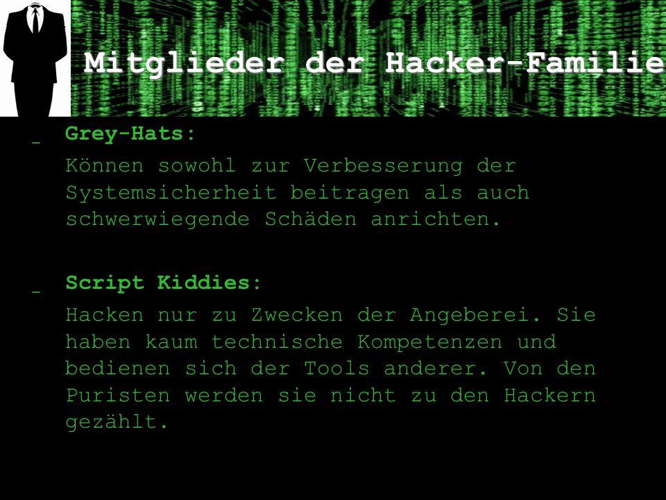 Mitglieder der Hacker-Familie ̲ Grey-Hats: Können sowohl zur Verbesserung der Systemsicherheit beitragen als auch schwerwiegende Schäden anrichten.