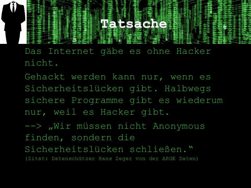 Tatsache Das Internet gäbe es ohne Hacker nicht. Gehackt werden kann nur, wenn es Sicherheitslücken gibt. Halbwegs sichere Programme gibt es wiederum