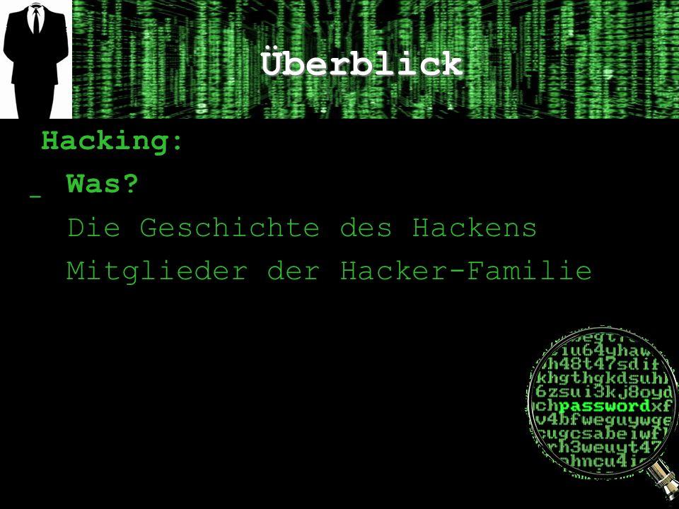 Überblick Hacking: ̲ Was? Die Geschichte des Hackens Mitglieder der Hacker-Familie