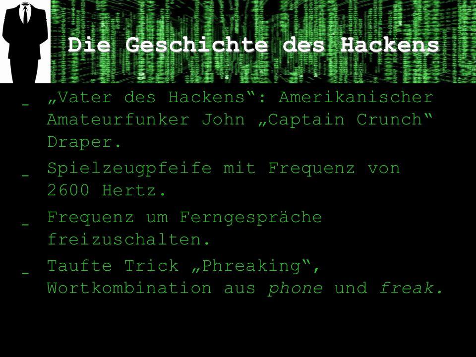 Die Geschichte des Hackens ̲ Vater des Hackens: Amerikanischer Amateurfunker John Captain Crunch Draper. ̲ Spielzeugpfeife mit Frequenz von 2600 Hertz