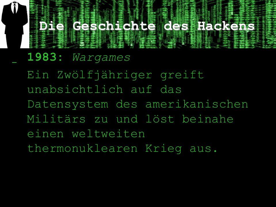 Die Geschichte des Hackens ̲ 1983: Wargames Ein Zwölfjähriger greift unabsichtlich auf das Datensystem des amerikanischen Militärs zu und löst beinahe einen weltweiten thermonuklearen Krieg aus.