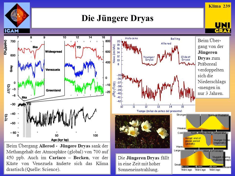 Die Jüngere Dryas Beim Übergang Allerød - Jüngere Dryas sank der Methangehalt der Atmosphäre (global) von 700 auf 450 ppb. Auch im Cariaco – Becken, v