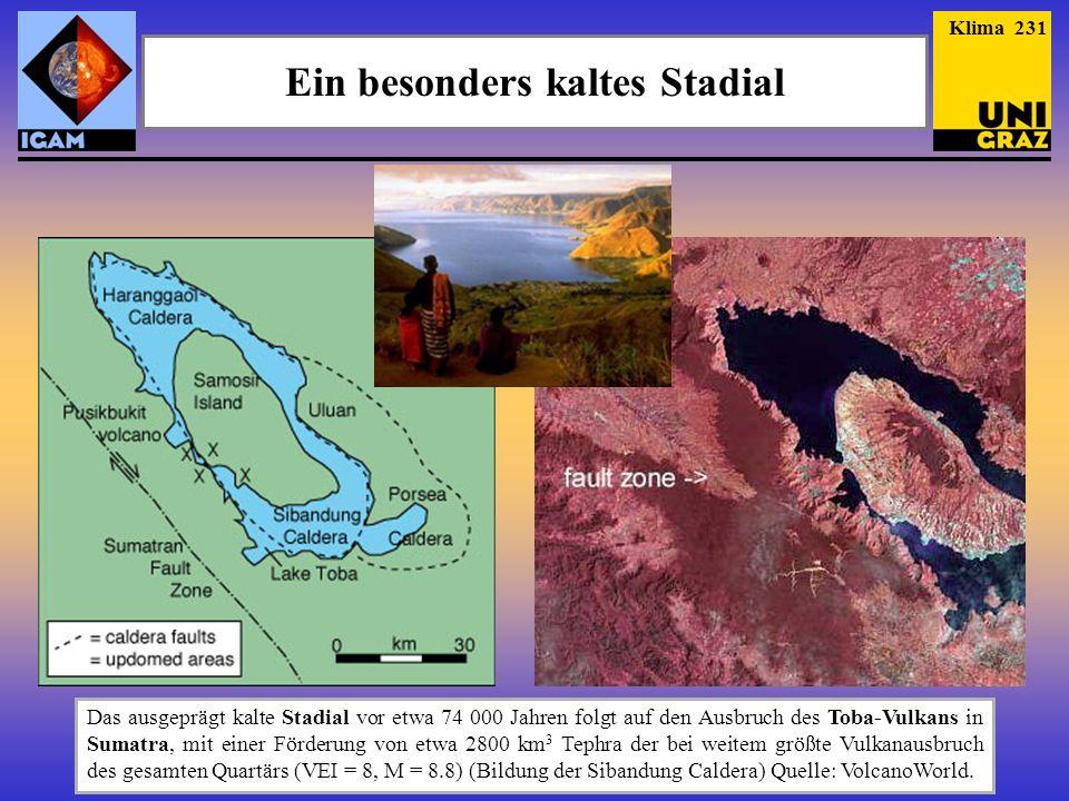 Ein besonders kaltes Stadial Das ausgeprägt kalte Stadial vor etwa 74 000 Jahren folgt auf den Ausbruch des Toba-Vulkans in Sumatra, mit einer Förderu