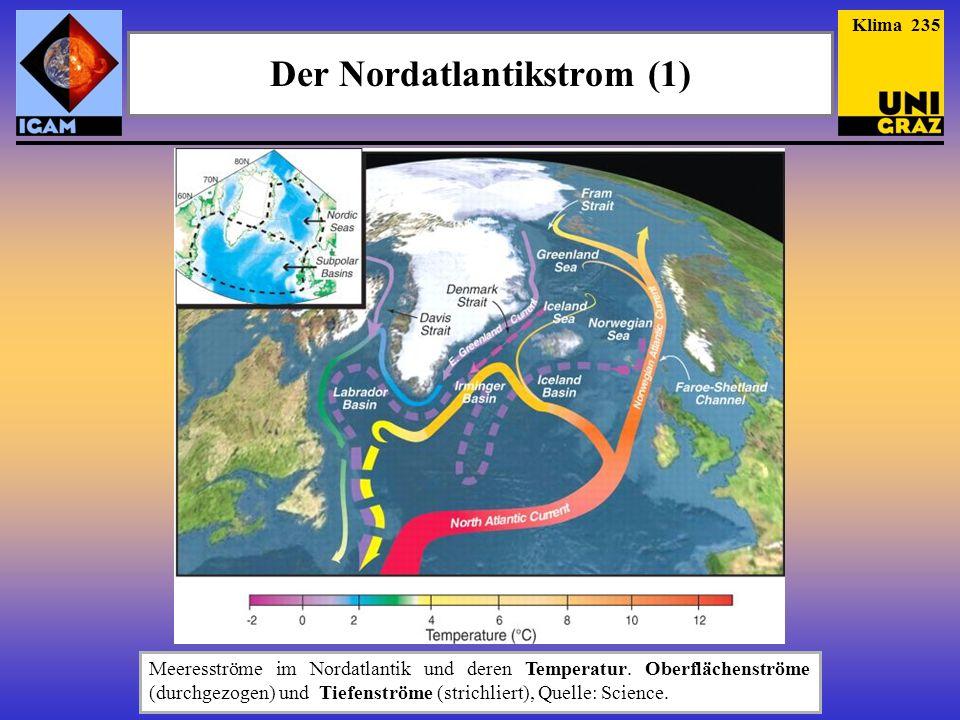 Der Nordatlantikstrom (1) Meeresströme im Nordatlantik und deren Temperatur. Oberflächenströme (durchgezogen) und Tiefenströme (strichliert), Quelle: