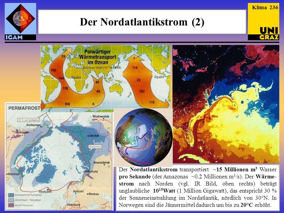 Der Nordatlantikstrom (2) Der Nordatlantikstrom transportiert ~15 Millionen m 3 Wasser pro Sekunde (der Amazonas ~0.2 Millionen m 3 /s). Der Wärme- st